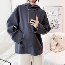 2019春季新品女装 韩国纯色呢子料连帽造型感女士插袋卫衣BC